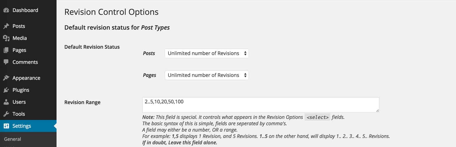 Revision Control WordPress Plugin