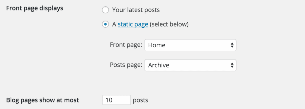 This is how WordPress expects you to set the home and blog page.